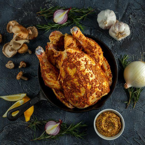 Poulet Fermier Roti Marine A La Moutarde A L Ancienne Et A L Ail
